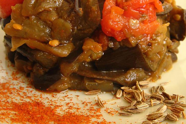 Aubergines aux tomates parfumées au cumin et paprika