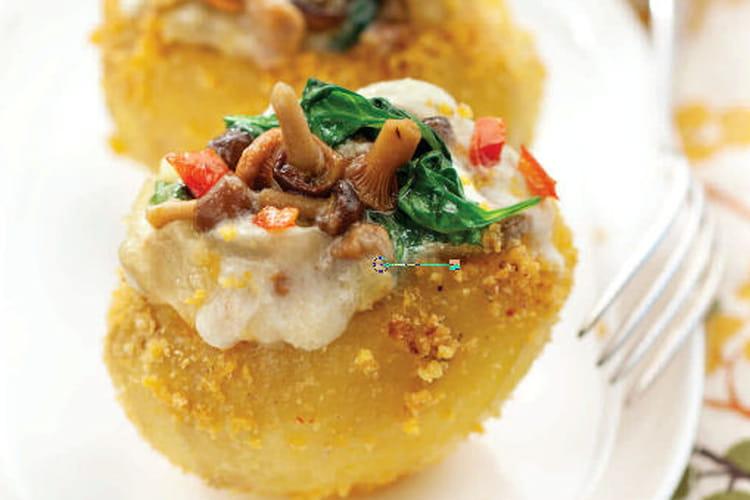 Pommes de terre farcies épinards et champignons