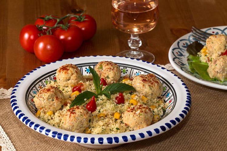 Taboulé à ma façon et boulettes de thon au curry