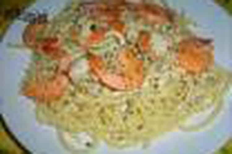 Spaghettis aux courgettes, carottes et Saint-Jacques