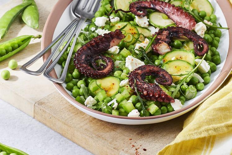 Salade de poulpe et pousses de roquette