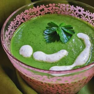 soupe verte (crue) et crème fluide végétale