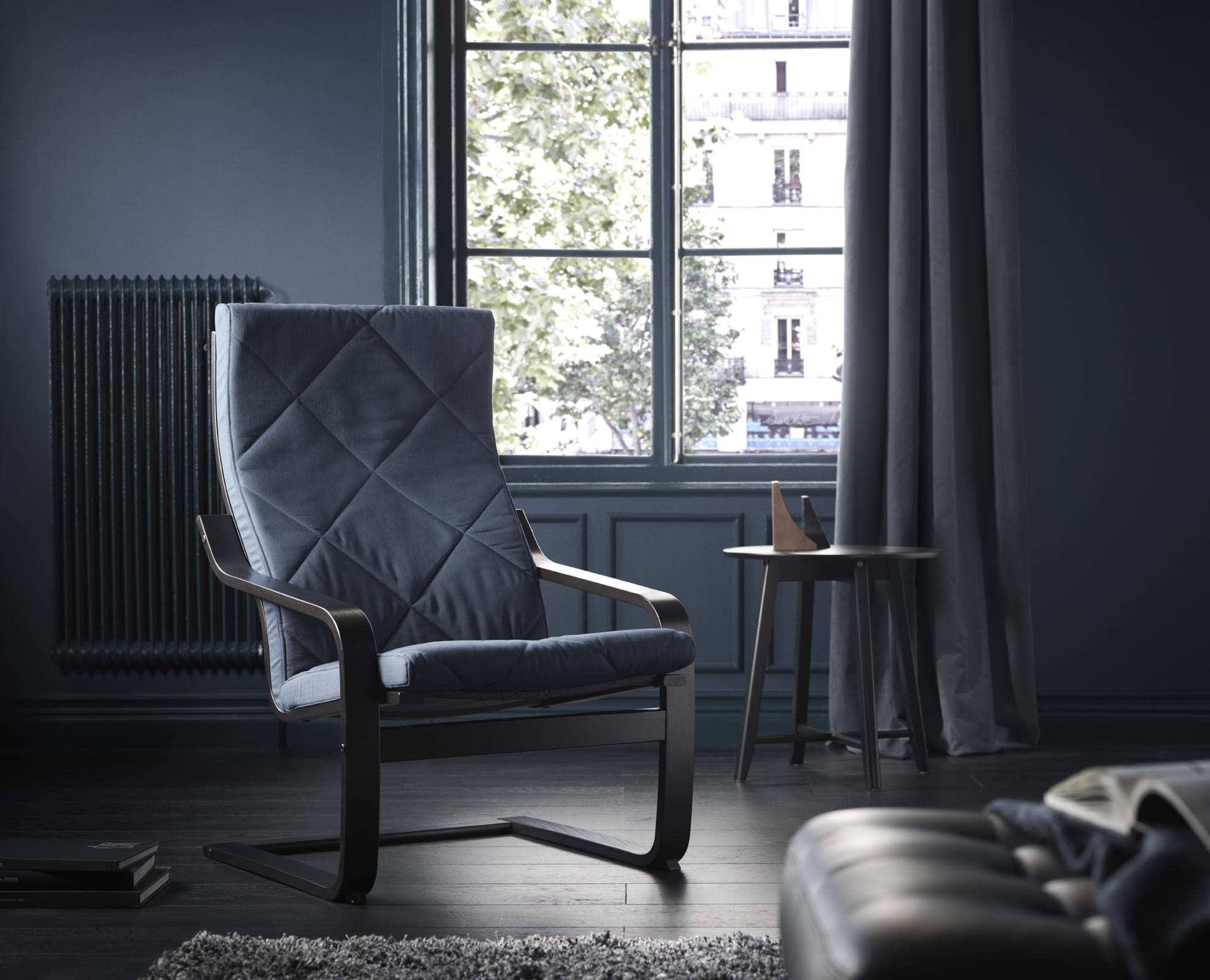 fauteuil pong edum bleu fonc prix 119 euros - Fauteuil Ikea Bleu