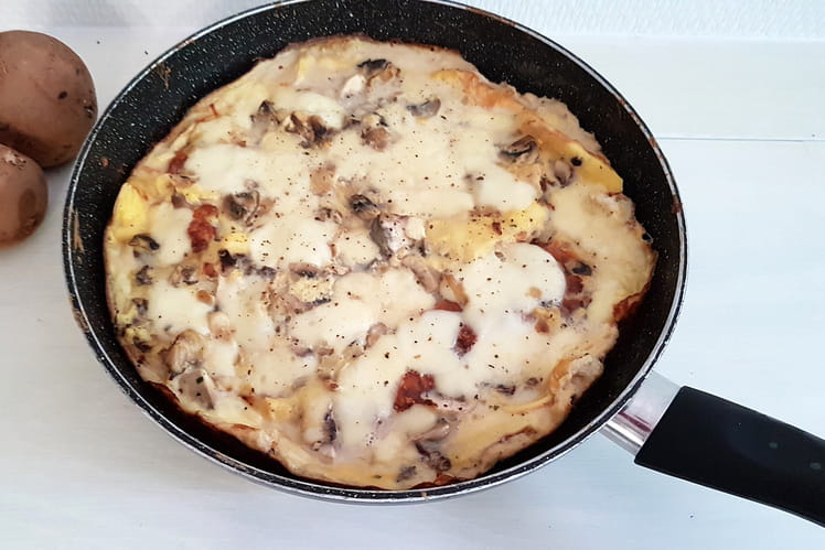 Omelette champignons et mozzarella