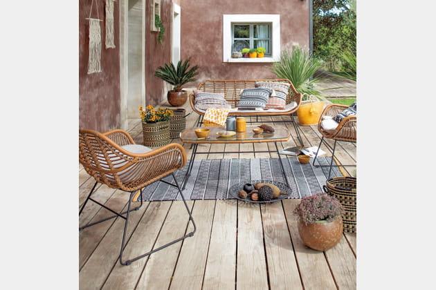 Salon de jardin en alu et bambou Jardiland