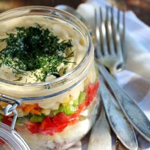 salade de légumes et thon