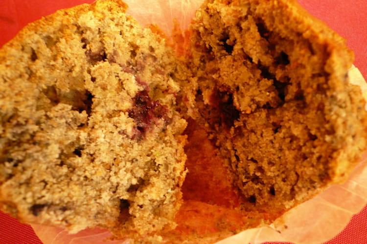 Muffins à la confiture de myrtilles et aux flocons d'avoine
