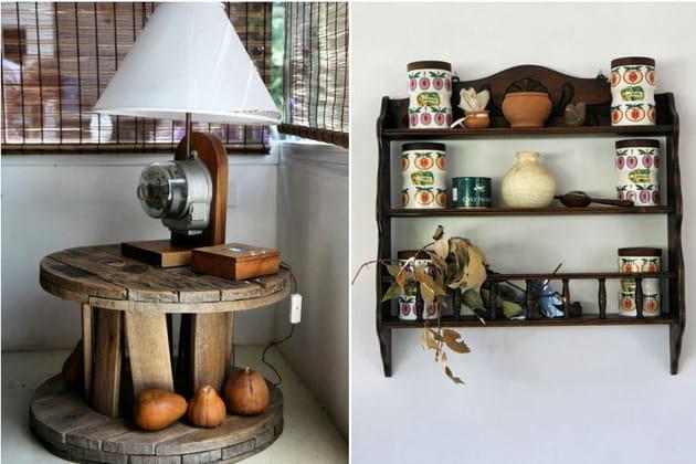 Lampe ludique et étagère chinée