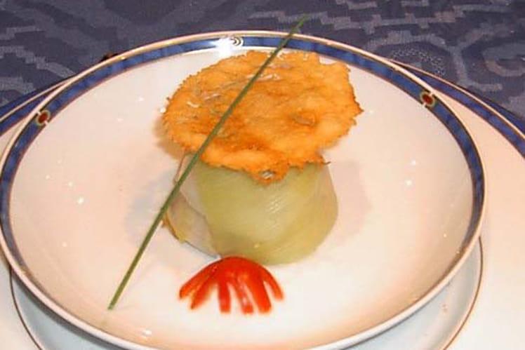 Charlottine de Saint-Jacques au curry et poireaux