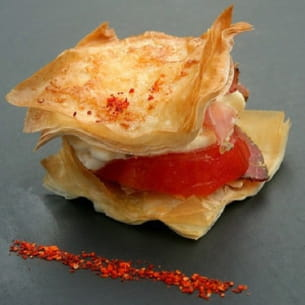 mille-feuille de tomates, chantilly de mozzarella
