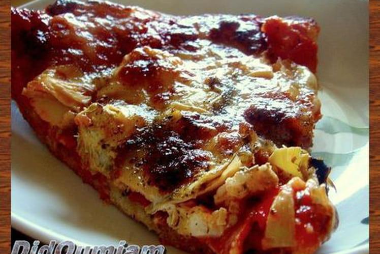 Pizza au chorizo, coeurs d'artichauts et poivron