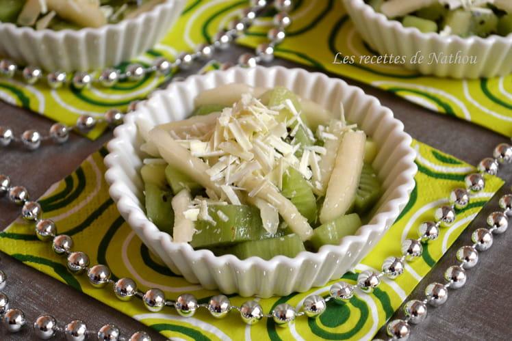 Salade de poires et kiwis au chocolat blanc
