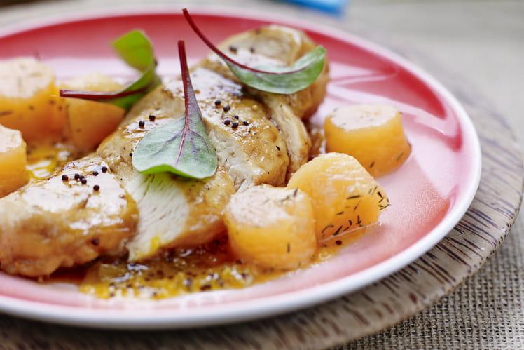 Melon de Guadeloupe rôti à la verveine, avec son chutney et suprême de volaille fermière des Landes