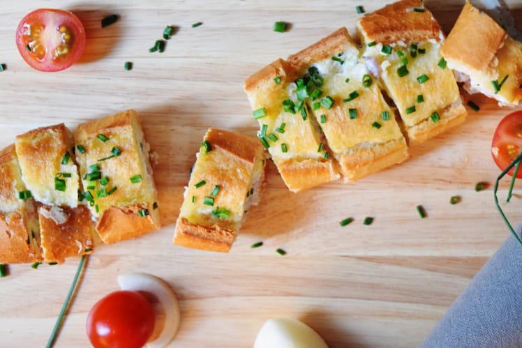 Baguette garnie aux lardons
