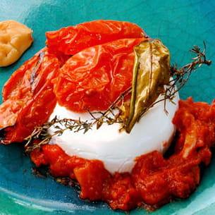 panna cotta au chèvre frais et tomates confites