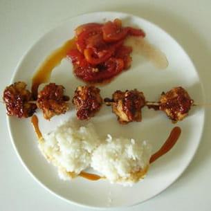 brochettes de poulet sauce soja-caramel