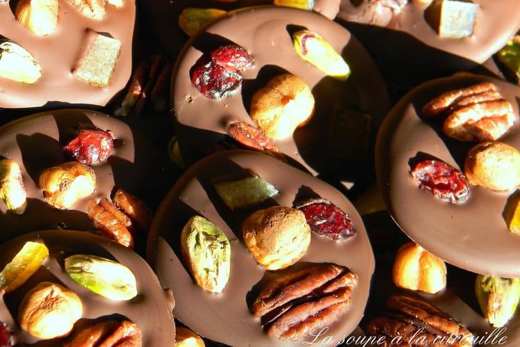 Palets mendiants au chocolat