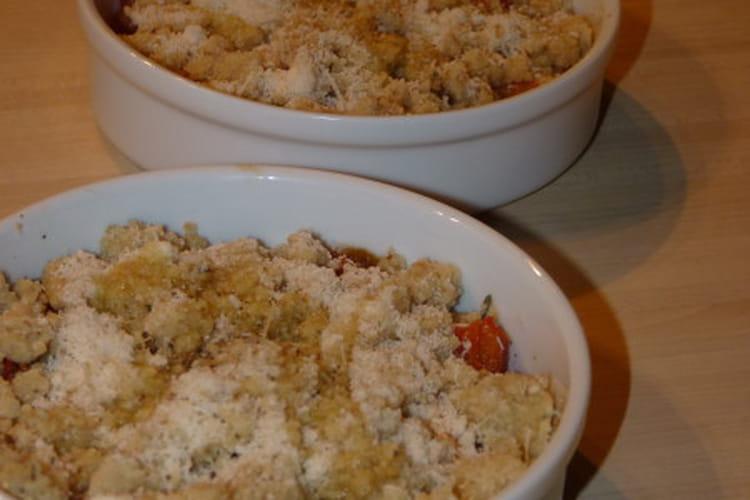 Crumble de tomate au thym et à la crème de chèvre