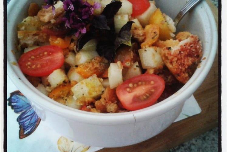Panzanella, salade tomates cerises, concombre et pan con ajo