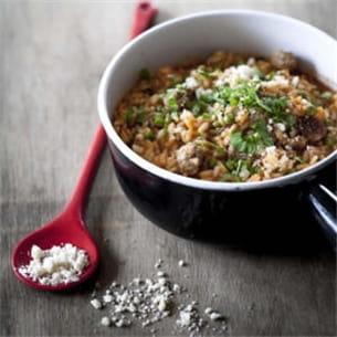 risotto au tomacouli®, saucisse et petits pois