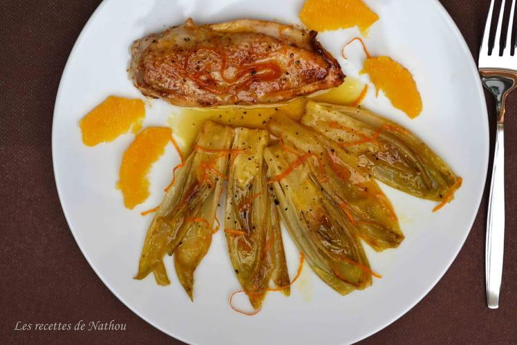Endives braisées et caramélisées à l'orange et au miel