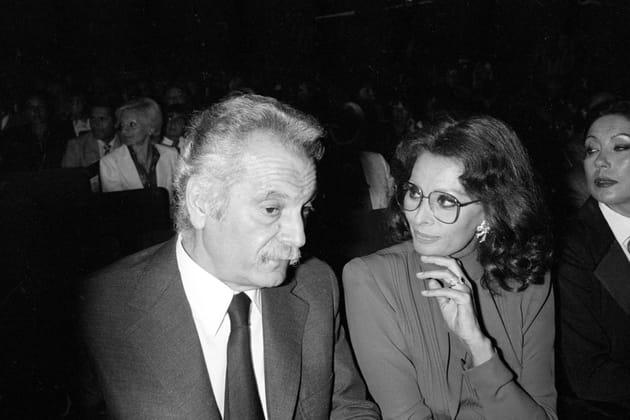 En compagnie de Sophia Loren lors d'un spectacle à Paris en 1979