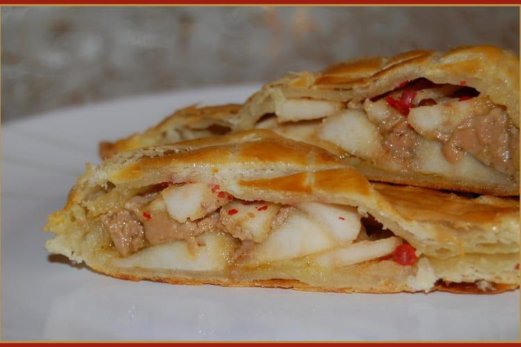 Feuilleté au foie gras et aux pommes