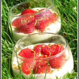 crème citron, pralin et fraises