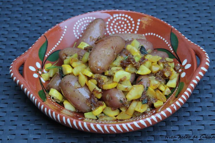 Fricassée de courgettes jaunes et vertes et pommes de terre grenaille