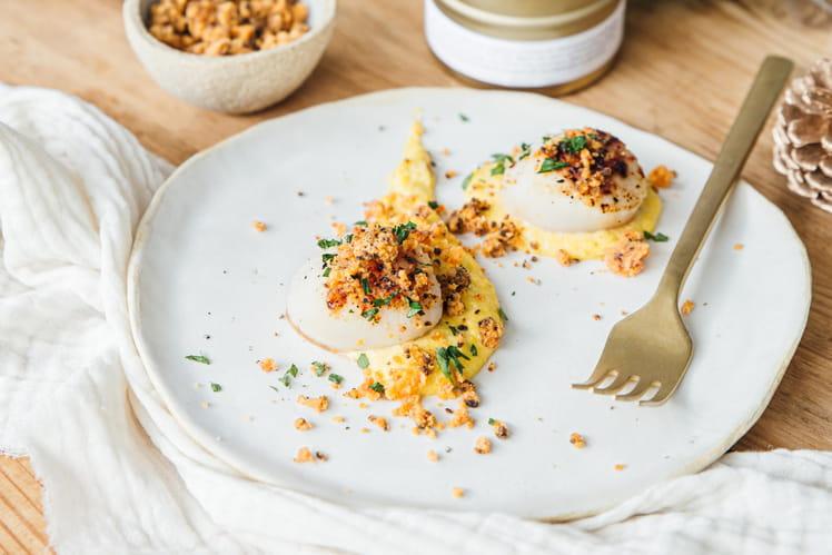 Saint-Jacques et sa crème de maïs, crumble de chorizo