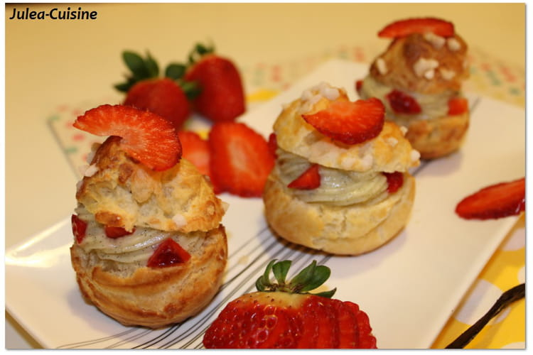 Choux à la crème patissière, vanille et fraise