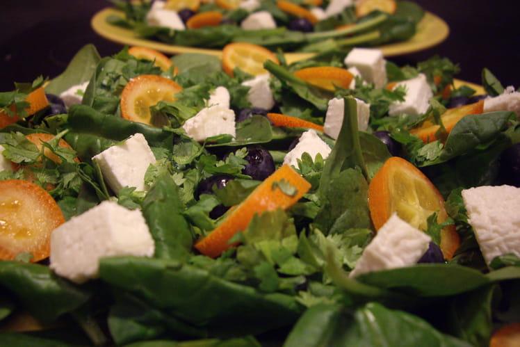 Salade chèvre kumquats