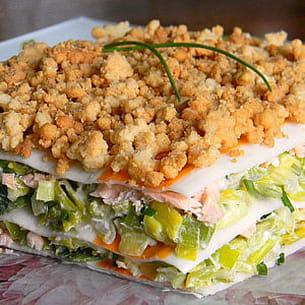 lasagnes de surimi au saumon et aux poireaux