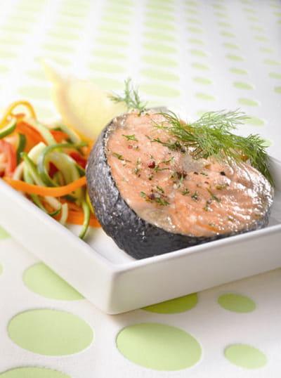 darnes de saumon à l'aneth, une recette de tupperware