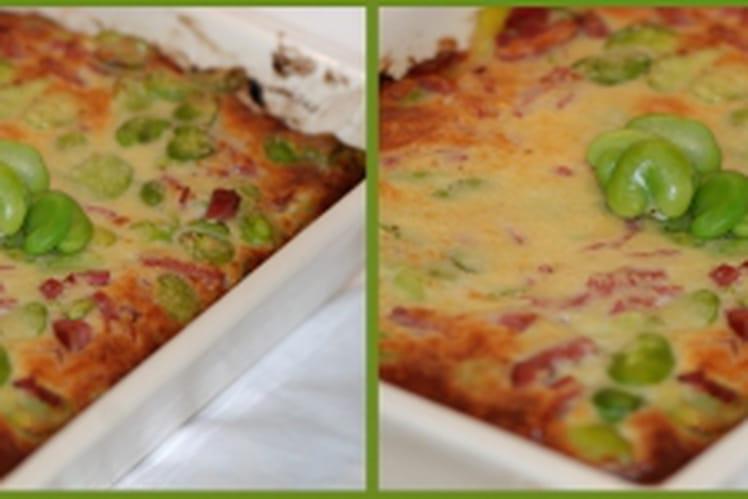 Clafoutis de fèves fraîches au parmesan et bacon