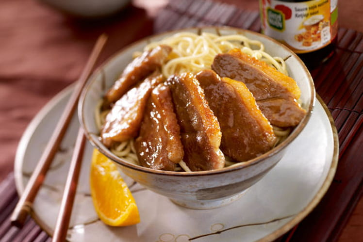 Magret de canard à l'orange et sauce soja sucrée au gingembre
