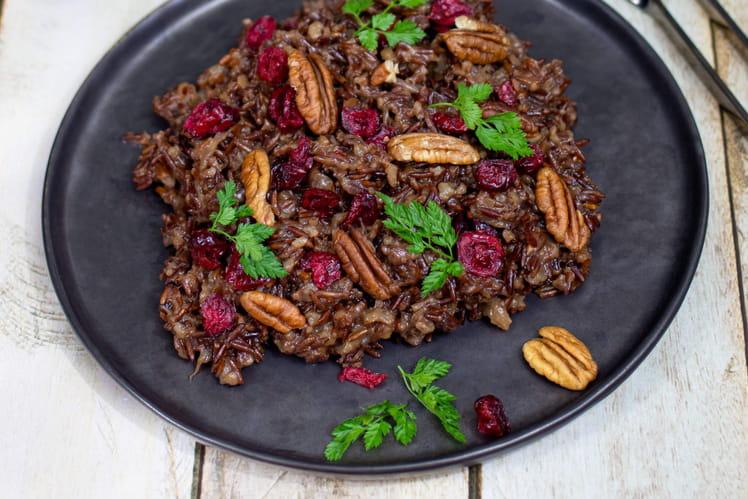 Riz rouge façon pilaf aux cranberries et noix de pécan