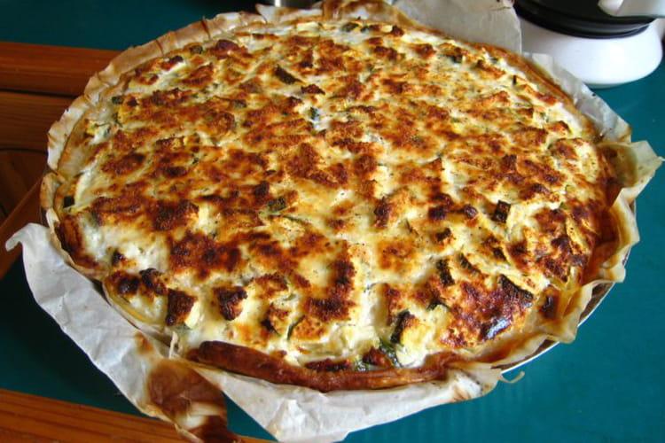 Tarte saumon, courgettes, basilic