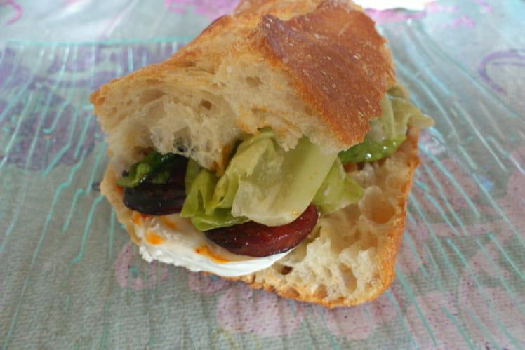 Sandwich chorizo-chèvre