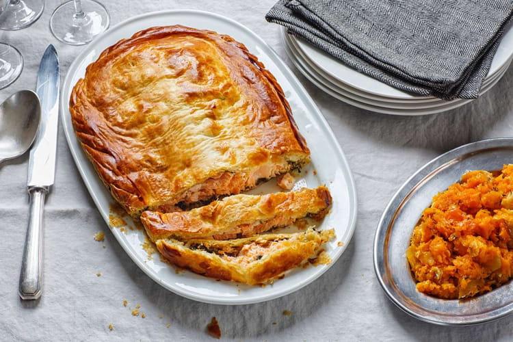 Saumon en pâte feuilletée et purée de courge
