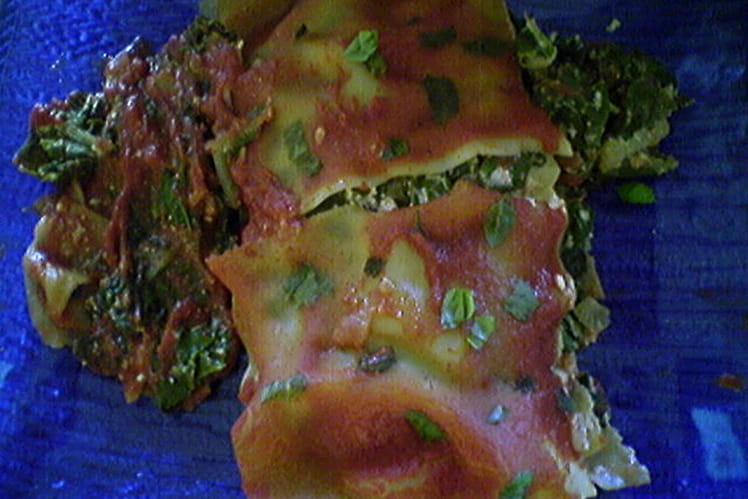 Lasagnes aux verts de blettes, broccio et tomates