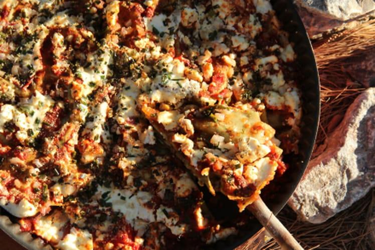 Lasagnes façon tarte fine aux aubergines et feta