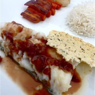 cabillaud sauce cranberries et légumes caramélisés