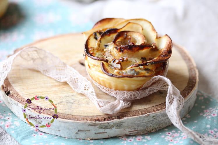 Rose feuilletée de poire, roquefort et noix de pécan