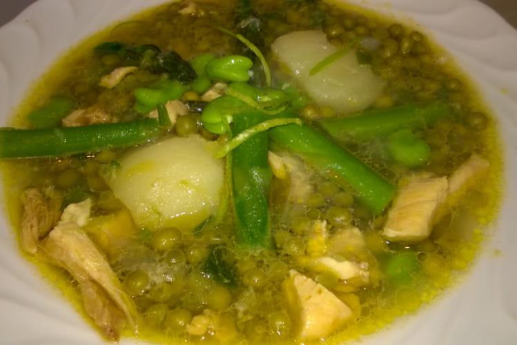 Soupe printanière au poulet
