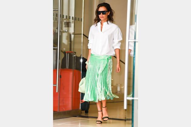 Victoria Beckham Et Blanche Chemise Plissée D'eau Vert Jupe En UpzVSM