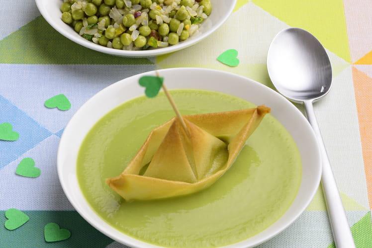 Soupe et salade de petits pois d'aucy