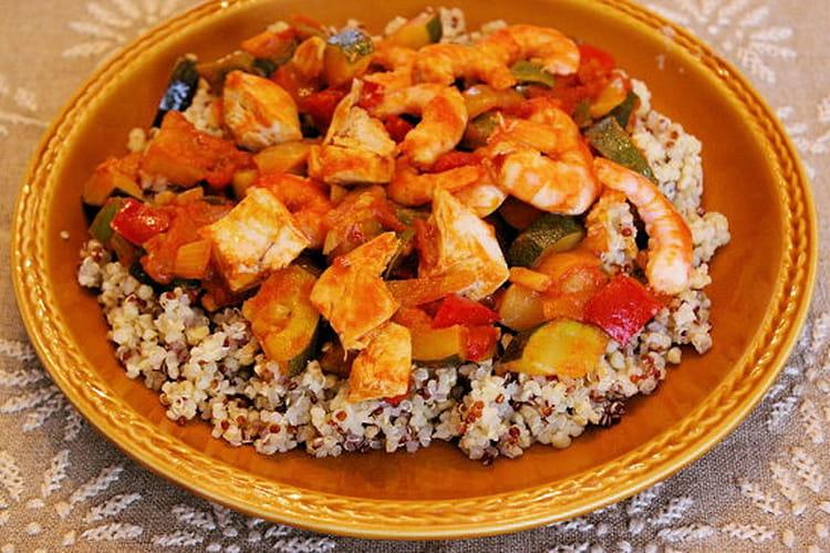 Poêlée aux légumes fondants, quinoa et crevettes