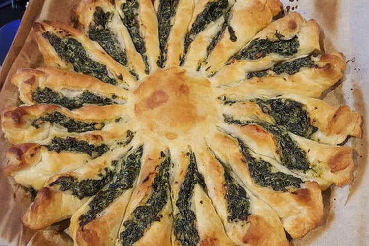Tarte soleil épinards frais, st moret, pignons de pain