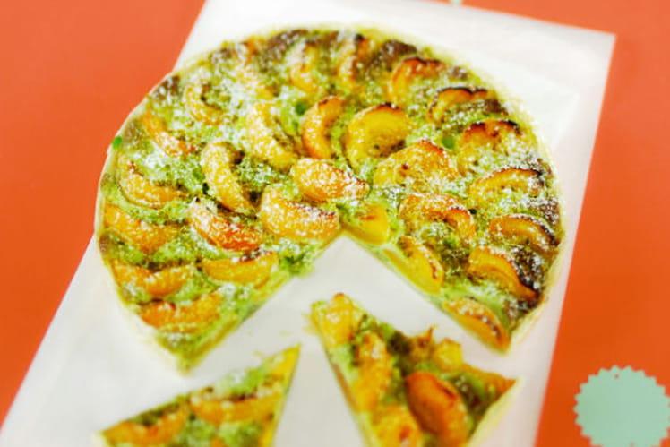 Tarte feuilletée pistache-abricot